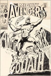 Gene Colan and George Klein Avengers #63 Cover Original Art (Marvel, 1969)