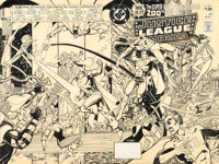 George Perez Justice League of America #200 Wraparound Cover Original Art (DC, 1982)