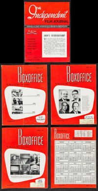 """Boxoffice Magazine & Other Lot (The National Film Weekly,1966). Magazines (5) (Multiple Pages, 9.25"""" X 12.25&qu..."""