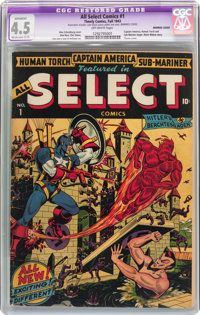 All Select Comics #1 Married Cover (Timely, 1943) CGC Apparent VG+ 4.5 Moderate (C-3) Off-white pages