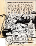 Original Comic Art:Covers, Al Avison Black Cat Mystery #34 Cover Original Art (Harvey,1952)....