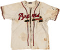 Baseball Collectibles:Uniforms, Late 1940's Boston Braves Game Worn Jersey....