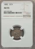 Three Cent Nickels: , 1882 3CN AU55 NGC. NGC Census: (4/56). PCGS Population (10/99). Mintage: 22,200. Numismedia Wsl. Price for problem free NGC...