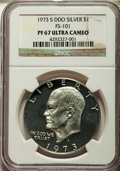 Eisenhower Dollars, 1973-S $1 Silver, Doubled Die Obverse, FS-101, PR67 Ultra Cameo NGC. NGC Census: (1188/163). PCGS Population (3888/897). Mi...