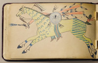 An intact and complete album of 30 Walter Bone Shirt drawings Pine Ridge Reservation, South Dakota c. 1887-88 Leather al...