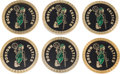 Basketball Collectibles:Others, Circa 1980's Boston Celtics Coasters Lot of 6 - Red Auerbach Estate....