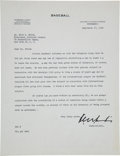 Baseball Collectibles:Others, 1943 Kenesaw Mountain Landis Signed Letter to Ford Frick. ...