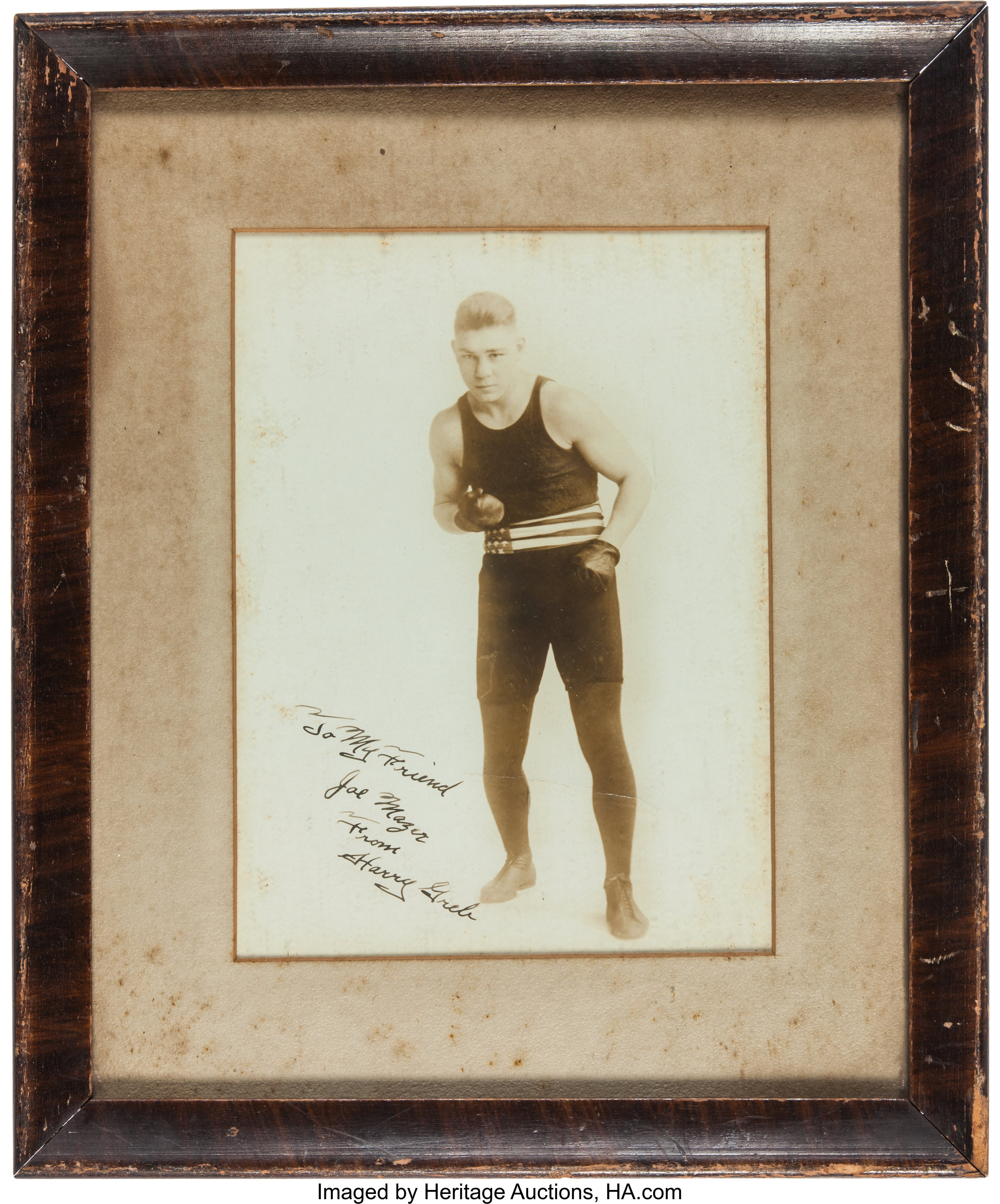 1920's Harry Greb Signed Photograph to Leading Pittsburgh Boxing