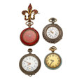 Timepieces:Pocket (post 1900), Two Enamel & Two Silver Watches. ... (Total: 4 Items)