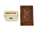 Timepieces:Other , Hamilton Box and Wooden Watch Case. ... (Total: 2 Items)