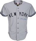 Baseball Collectibles:Uniforms, Circa 1990 Mickey Mantle Signed Jersey. ...
