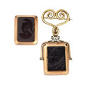 Timepieces:Other , Two Vintage Intaglio Keepsake Watch Fobs. ... (Total: 2 Items)