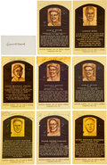 Baseball Collectibles:Others, 1950's-80's Hall of Fame Signed Autographs (Mainly Gold Plaques)Lot of 8....