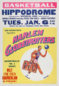 Basketball Collectibles:Others, 1958 Harlem Globetrotters Featuring Wilt Chamberlain Poster. ...