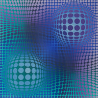 Victor Vasarely (1906-1997) Hommage à Picasso, 1974 Screenprint in colors 19-3/4 x 19-3/4 inches
