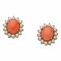 Estate Jewelry:Earrings, Coral, Cultured Pearl, Gold Earrings. ... (Total: 2 Items)