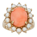 Estate Jewelry:Rings, Coral, Cultured Pearl, Gold Ring. ...