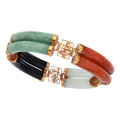 Estate Jewelry:Bracelets, Multi-Color Jadeite Jade, Gold Bracelet. ...