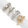 Estate Jewelry:Rings, Diamond, Gold, White Gold Rings. ... (Total: 5 Items)