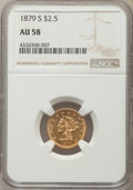 Liberty Quarter Eagles: , 1879-S $2 1/2 AU58 NGC. NGC Census: (69/18). PCGS Population (2/12). Mintage: 43,500. Numismedia Wsl. Price for problem fre...