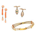 Estate Jewelry:Lots, Coral, Platinum, Gold, Platinum-Topped Gold Jewelry. ... (Total: 5 Items)