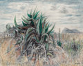 Fine Art - Painting, American:Contemporary   (1950 to present)  , Everett Franklin Spruce (American, 1908-2002). CenturyPlant, 1989. Mixed media on masonite. 24 x 30 inches (61.0 x76.2...