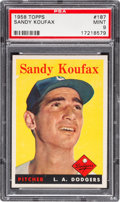 Baseball Cards:Singles (1950-1959), 1958 Topps Sandy Koufax #187 PSA Mint 9 - Only One Higher....