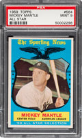 Baseball Cards:Singles (1950-1959), 1959 Topps Mickey Mantle All Star #564 PSA Mint 9 - Only One Higher....