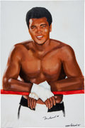 Boxing Collectibles:Autographs, Muhammad Ali Signed Original Artwork by Artist Wayne Prokopiak....