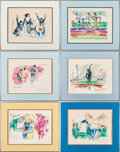 Olympic Collectibles:Autographs, 1972 Munich Summer Olympics Signed LeRoy Neiman Serigraphs Lot of6....