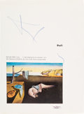 "Miscellaneous Collectibles:General, 1970's Salvador Dali Signed ""The Persistence of Memory"" Book Page...."
