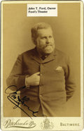 Autographs:Celebrities, JOHN T. FORD SIGNED CABINET CARD, OWNER FORD'S THEATRE, WASHINGTOND.C., CIRCA 1880S....