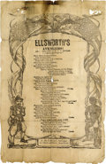 "Military & Patriotic:Civil War, CIVIL WAR ""ELLSWORTH'S AVENGERS"" SONG SHEET, CIRCA 1860S...."