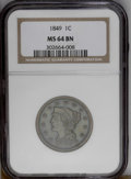 1849 1C MS64 Brown NGC. NGC Census: (26/31). PCGS Population (11/2).Mintage: 4,178,500. Numismedia Wsl. Price: $600. (#1...