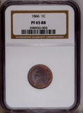 Proof Indian Cents: , 1866 1C PR65 Red and Brown NGC. NGC Census: (36/9). PCGS Population (42/5).Mintage: 725. Numismedia Wsl. Price: $875. (#228...