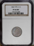 Proof Indian Cents: , 1886 1C Type One PR66 Brown NGC. NGC Census: (27/7). PCGS Population (11/3).Mintage: 4,290. Numismedia Wsl. Price: $425. (#...