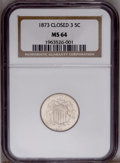 Shield Nickels: , 1873 5C Closed 3 MS64 NGC. PCGS Population (12/8). (#3801)...