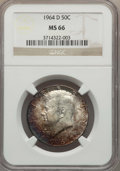 Kennedy Half Dollars, 1964-D 50C MS66 NGC. NGC Census: (343/11). PCGS Population(616/44). Mintage: 156,205,440. Numismedia Wsl. Price for proble...