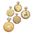 Timepieces:Pocket (post 1900), Four Gold Filled Pocket Watches for Repair and One Watch Case. ...(Total: 5 Items)
