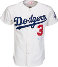 Baseball Collectibles:Uniforms, 1987 Steve Sax Game Worn Los Angeles Dodgers Jersey....