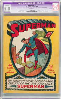 Superman #1 (DC, 1939) CGC Apparent VG/FN 5.0 Moderate/Extensive (B-4) White pages