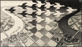 Fine Art - Work on Paper:Print, M. C. Escher (1898-1972). Day and Night, 1938. Woodcut onJapan paper. 15-3/8 x 26-5/8 inches (39.1 x 67.6 cm) (image). ...