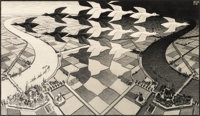 M. C. Escher (1898-1972) Day and Night, 1938 Woodcut on Japan paper 15-3/8 x 26-5/8 inches (39.1