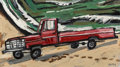Fine Art - Painting, American:Contemporary   (1950 to present)  , David Bates (American, b. 1952). Red Pickup, 1992. Oil oncanvas. 20 x 36 inches (50.8 x 91.4 cm). Signed lower right: ...