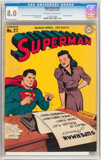 Superman #27 (DC, 1944) CGC VF 8.0 Off-white to white pages