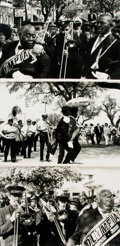 Books:Photography, [New Orleans]. John Donnels, photographer (1924 - 2009). Trio of Photographs Depicting the Jazz Funeral of New Orleans Trumpet...