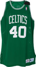 Basketball Collectibles:Uniforms, 1993-94 Dino Radja Game Worn Boston Celtics Rookie Jersey withReggie Lewis Mourning Band....