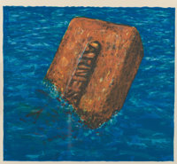Robert Arneson (1930-1992) Moby Brick, 1975 Lithograph in colors on wove paper 9-1/2 x 10-1/2 inc