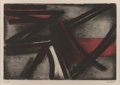 Prints:Contemporary, Pierre Soulages (b. 1919). Etching No. 2, 1952. Etching andaquatint in colors on Velin Arches paper. 15-1/8 x 21-7/8 in...