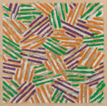 Prints:Contemporary, Jasper Johns (b. 1930). Untitled, 1977. Screenprint incolors on Patapar printing parchment. 10 x 10 inches (25.4 x25.4...